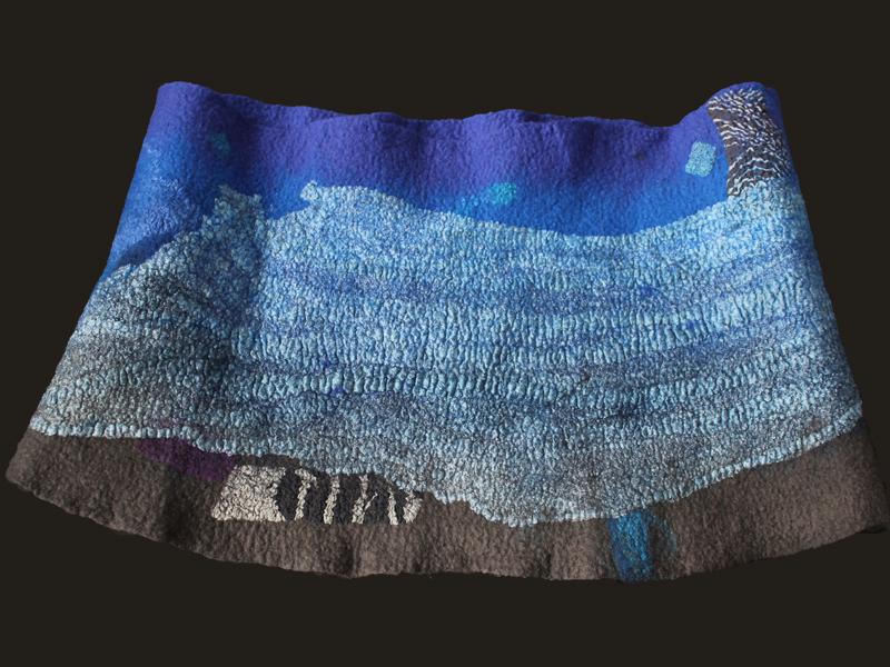 Cuello infinito trapezoidal, lana merino y seda